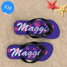 Pink Purple Dot Personalized Flip Flops, Kid Medium