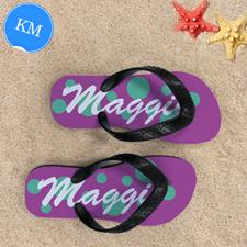 Teal Pink Dot Personalized Flip Flops, Kid Medium