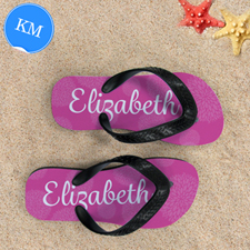 Pink Floral Personalized Flip Flops, Kid Medium