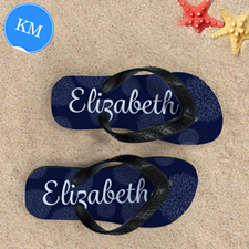 Navy Floral Personalized Flip Flops, Kid Medium