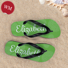Lime Floral Flip Flops Women Medium