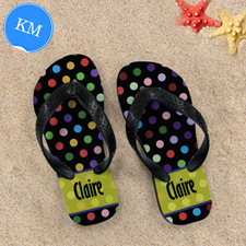 Colorful Polka Dot Personalized Flip Flop, Kid Medium