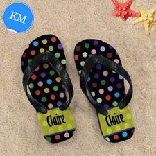 Colorful Polka Dot Personalized Flip Flop, Kid Medium