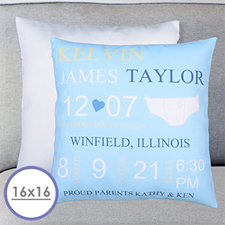 Boy Birth Announcement Personalized Pillow Cushion Cover 16