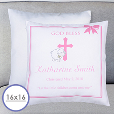 Girl Christening Personalized Large Cushion 18