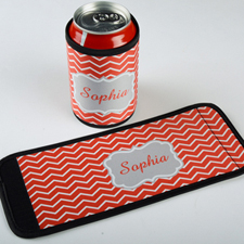 Red Chevron Personalized Can And Bottle Wrap