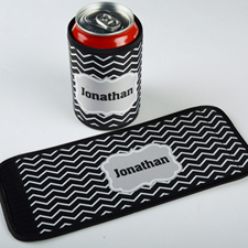 Black Chevron Personalized Can And Bottle Wrap