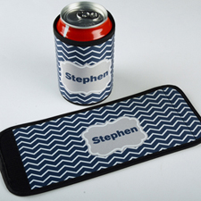 Navy Chevron Personalized Can And Bottle Wrap
