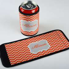 Mandarin Chevron Personalized Can And Bottle Wrap