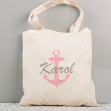 Fuchsia Nautical Anchor Cotton Tote Bag