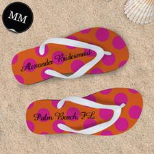 Mandarin Fuchsia Dot Personalized Flip Flops, Men Medium