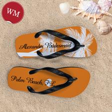 Mandarin Palm Tree Personalized Flip Flops, Women Medium