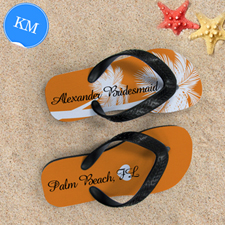 Mandarin Palm Tree Personalized Flip Flops, Kids Medium