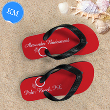 Red Wedding Ring Personalized Flip Flops, Kid Medium