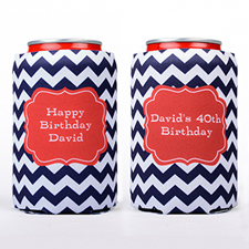 Navy Chevron Name Initial Personalized Can Cooler
