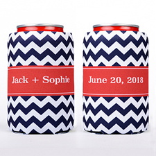Navy Chevron Stripe Personalized Can Cooler
