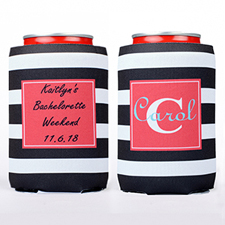 Big Black Stripe Personalized Can Cooler