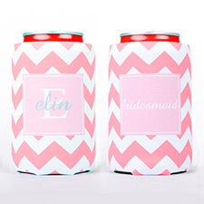 Pink Chevron Personalized Can Cooler