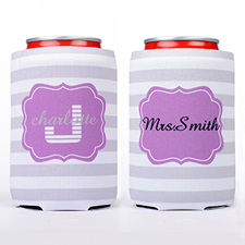 Grey Stripe Personalized Can Cooler