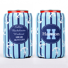 Strip And Anchor Personalized Can Cooler