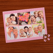 Six Collage Photo Puzzle, Baby Pink