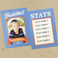 Basketball Personalized Trading Cards Blue  Set Of 12