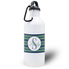 Navy Blue Stripe Personalized Water Bottle