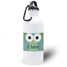 Green Owl Personalized Kids Water Bottle