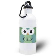 Green Owl Personalized Kids Water Bottle