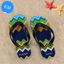 Rainbow Chevron Personalized Flip Flops ,Kid Medium