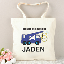Ring Bearer Navy Truck Personalized Tote Bag