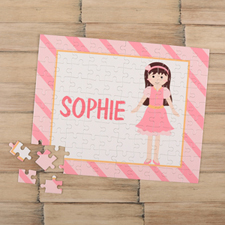 Girl Brown Hair Personalized Kids Puzzle