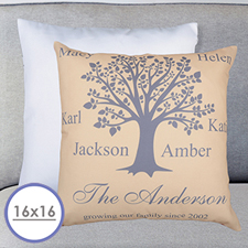 Beige Family Tree Personalized Pillow Cushion Cover 16