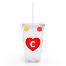 Polka Dot Red Heart Personalized Tumbler