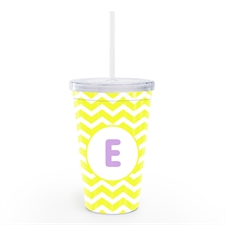 Yellow Chevron Personalized Double Wall Tumbler