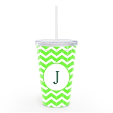 Lime Chevron Personalized Acrylic Double Wall Tumbler