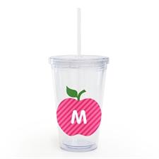 Custom Pink Apple Personalized Teacher Acrylic Tumbler