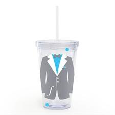 Grey Tuxedo Dress Personalized Wedding Acrylic Tumbler