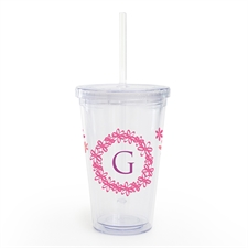 Customize Pink Floral Acrylic Double Wall Tumbler