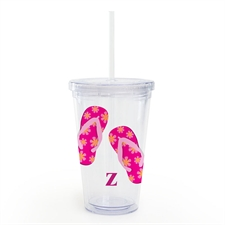 Pink Flip Flops Personalized Acrylic Double Wall Tumbler