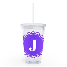 Purple Lace Personalized Acrylic Double Wall Tumbler