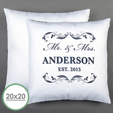 Mr. & Mrs. Personalized Pillow White 20X20 Cushion (No Insert)