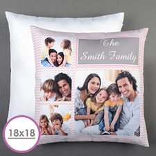 Pink Chevron Collage Personalized Large Cushion 18