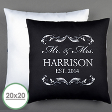 Mr. & Mrs. Personalized Pillow Black 20X20 Cushion (No Insert)