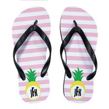 Carol Stripe Pineapple Personalized Flip Flops, Kids Medium