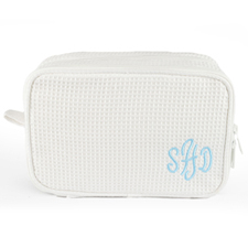 Monogrammed Embroidered White Cotton Waffle Weave Cosmetic Bag