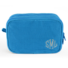 Monogrammed Embroidered Turquoise Cotton Waffle Wave Cosmetic Bag