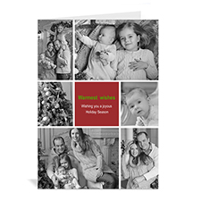 6 Photo Collage Classic Greetings - Red