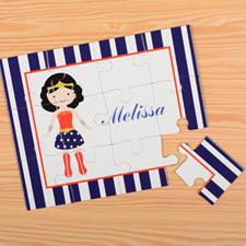 Supergirl Personalized Kids Puzzle, Blue Stripe