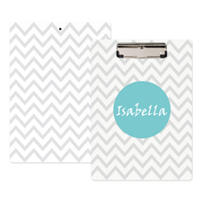 Monogram Grey Chevron Personalized Clipboard